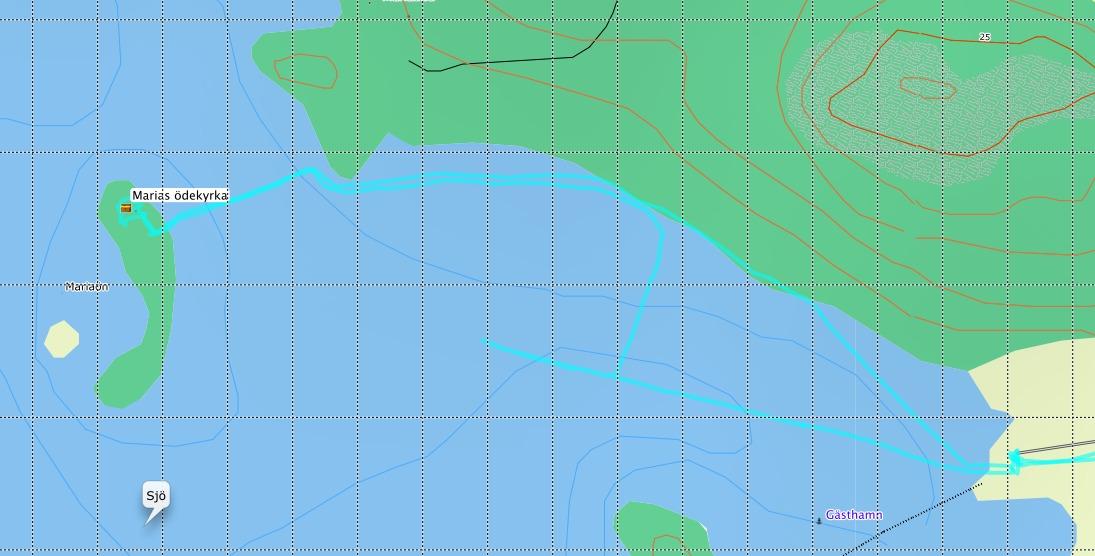 Vårt spår över isen, inspelat i mteklas GPS