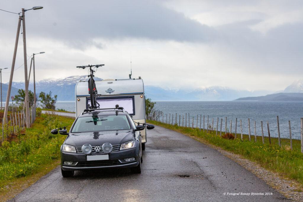 Min bil och husvagn i nord Norge
